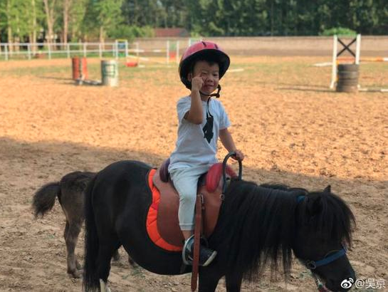 Wu Jing (actor) sun son riding father and son horse riding fun